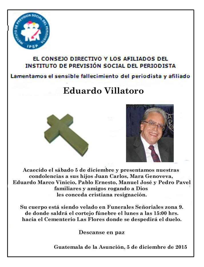Esquela Ipsp Eduardo Villatoro (2015)