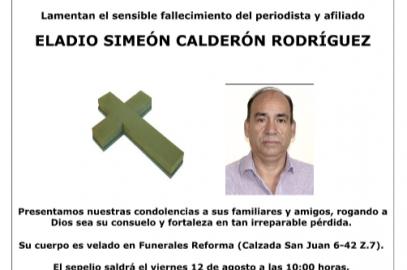 Fallece el afiliado Eladio Simeón Calderón Rodríguez