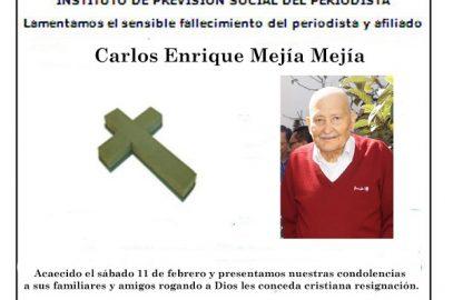 IPSP Lamenta fallecimiento de Carlos Enrique Mejía Mejía