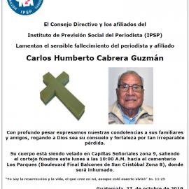 Nota de Duelo: Carlos Humberto Cabrera Guzmán