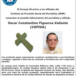 Fallece afiliado Oscar Constantino Figueroa Valiente